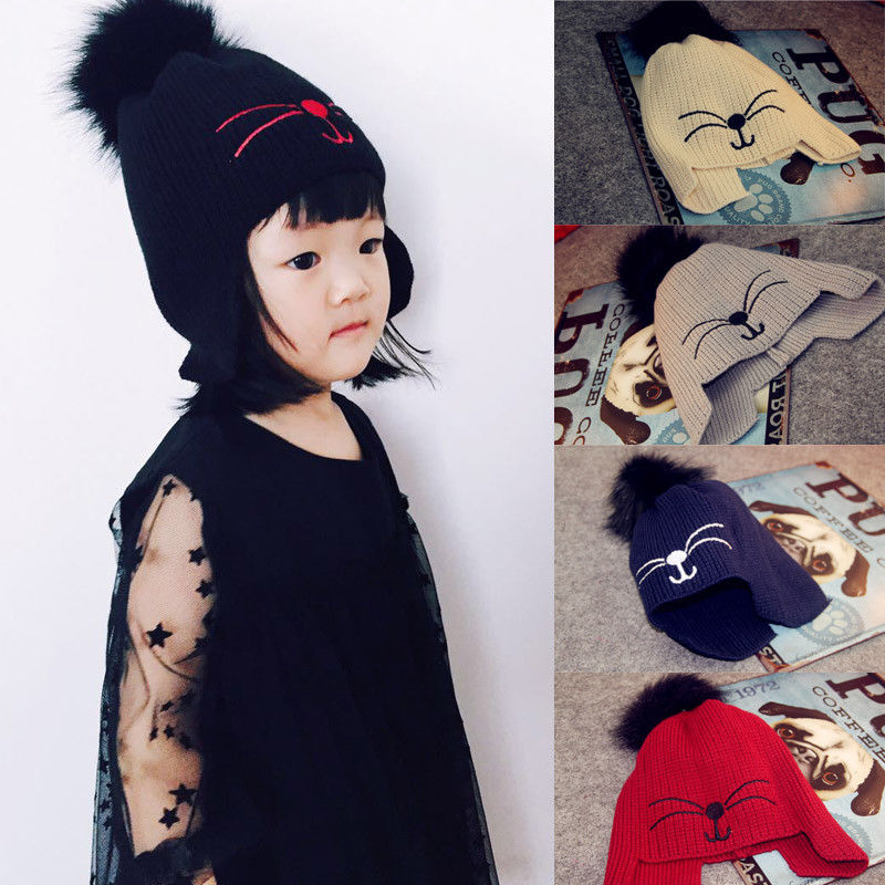 HIRIGIN 2017 Winter Kids Girls Boys Warm Crochet Knit Hat Ski Beanie Earflap Caps Crochet Knitted Hat Gift hot winter beanie knit crochet ski hat plicate baggy oversized slouch unisex cap