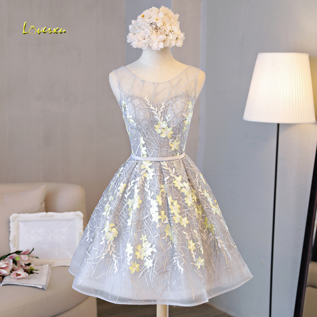 Loverxu New Arrival Fashion Scoop Neck Appliques Lace Cocktail Dress 2019 Delicate Sashes Appliques Homecoming Dresses Plus Size