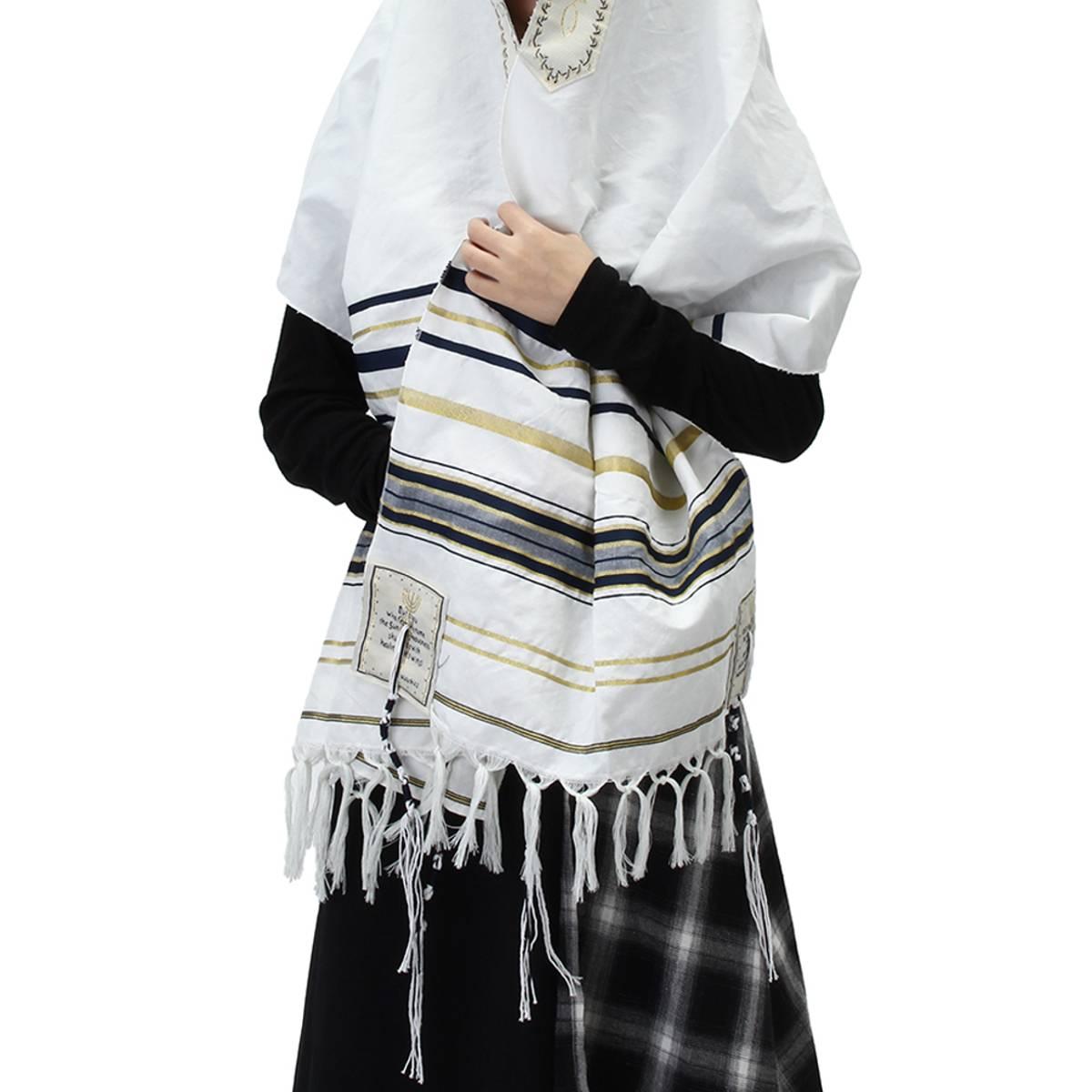 Winter Women Scarf Messianic Jewish Tallit Prayer Shawl Blue And Gold Stripe Prayer Shawl And Talis Bag Prayer Scarfs 175X50CM