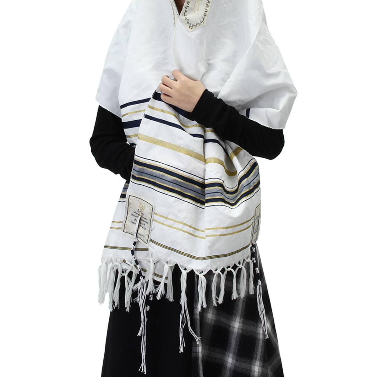 Winter Women Scarf Messianic Jewish Tallit Prayer Shawl Blue And Gold Stripe Prayer Shawl And Talis Bag Prayer Scarfs 175X50CM