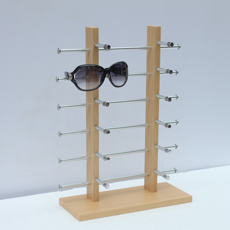 Premintehdw W32*H42.5*D15CM Counter Top Wood Eyeglasses Sunglasses Glasses Display Stand Rack Holder Shelf 6-Layer & 2-Column