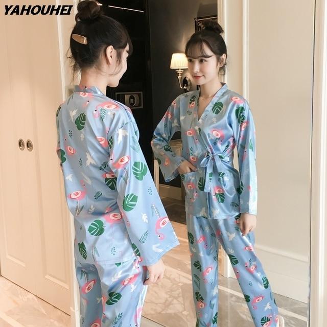 668c6cddd5 Sweet Girls Silk Japanese Kimono Pajama Sets for Women 2018 Autumn Long  Sleeve Pyjama Print Pijama
