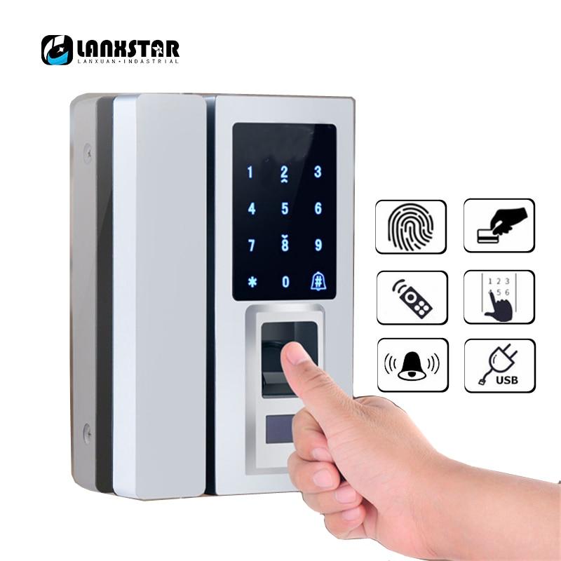Glass Door Intelligent Electronic Door Lock Touch Screen Fingerprint /Password Code /RFID Card Keyless Latch Bolt Smart Lock