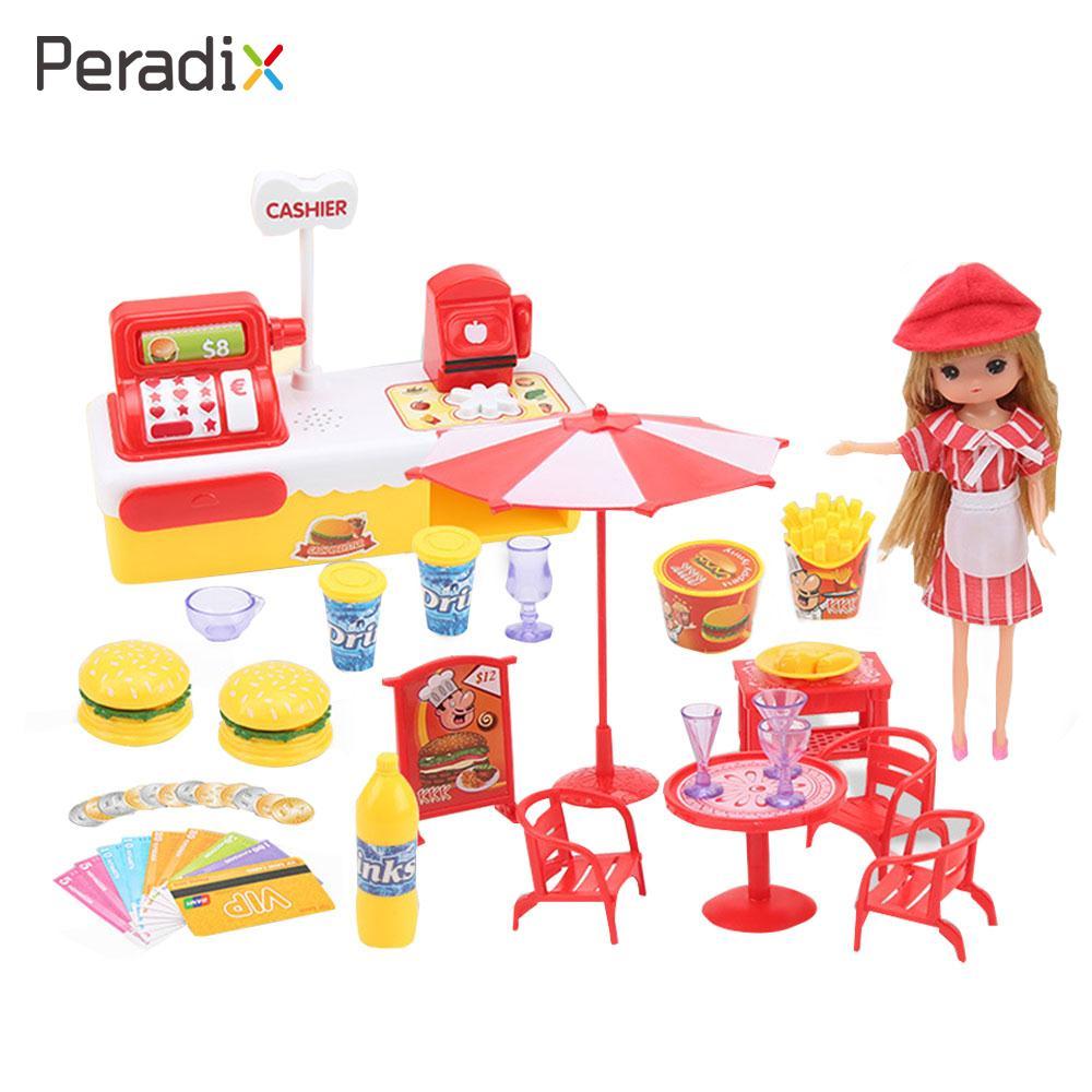 2018 Cashier Model Educational Cash Register Toy Play House Toy with Doll Hamburger Hambur