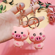 Fashion Cute Cartoon Pig Keychain Leather Rope Key Chains Animal Key Ring Holder Fur Pompones Llavero for Women Girl Bag Pendant(China)