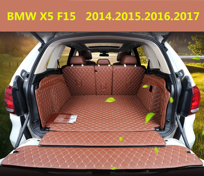 Auto Cargo Liner Car Trunk Mats For BMW X5 F15 2014.15.2016.2017 Surrounded by all Carpets High Quality Embroidery Leather Mats auto floor mats for honda cr v crv 2007 2011 foot carpets step mat high quality brand new embroidery leather mats