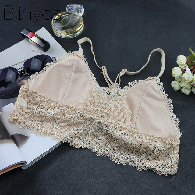 Blinvas Bra Wire Free Bras For Women Thin Cotton Lace A42 Black White Y-line Straps None Closure BH Sexy Bras For Women BH