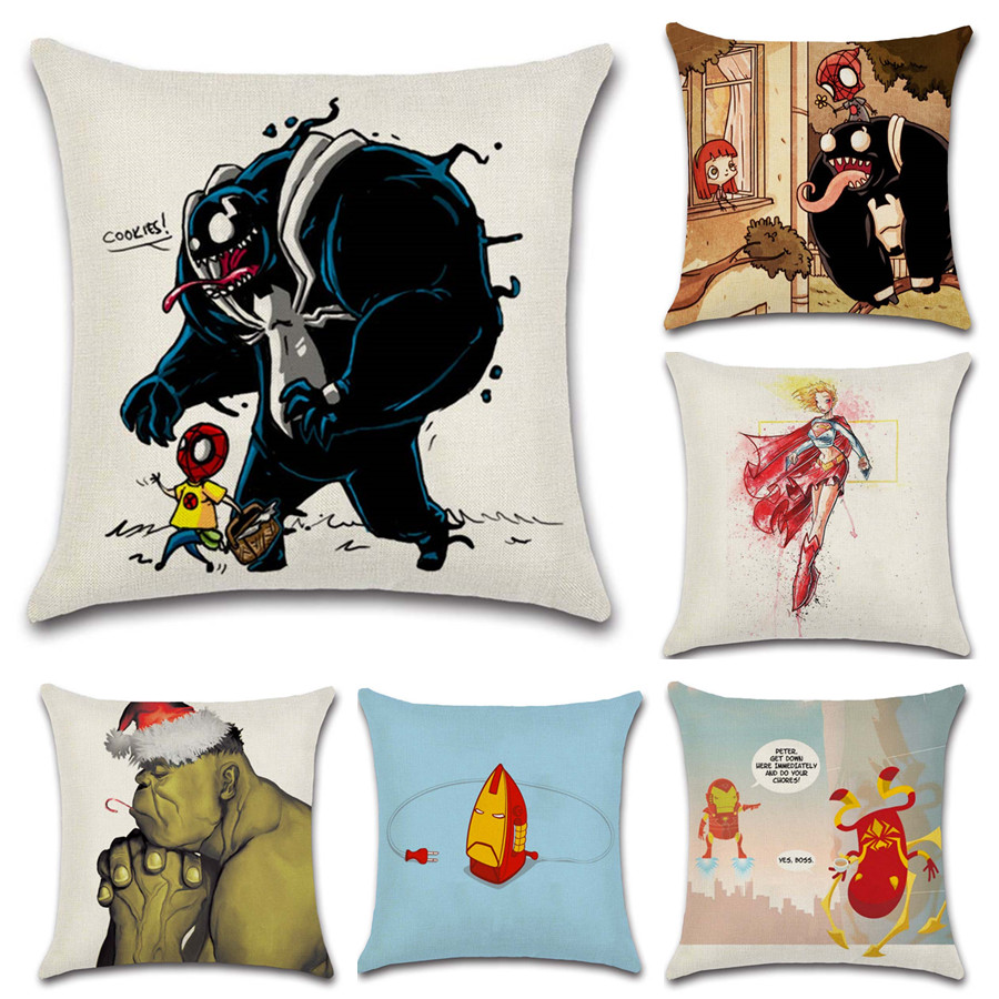 Funny comic Spiderman and venom Irom Hulk cushion cover Sofa Throw home Pillow case Chair decoration for kids boy bedroom gift