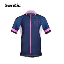Santic Women Outdoor Sportswear Bicycle Purple Short Sleeve Breathable Fast Dry MTB Road Bike UV-proof Jersey M6C02092N