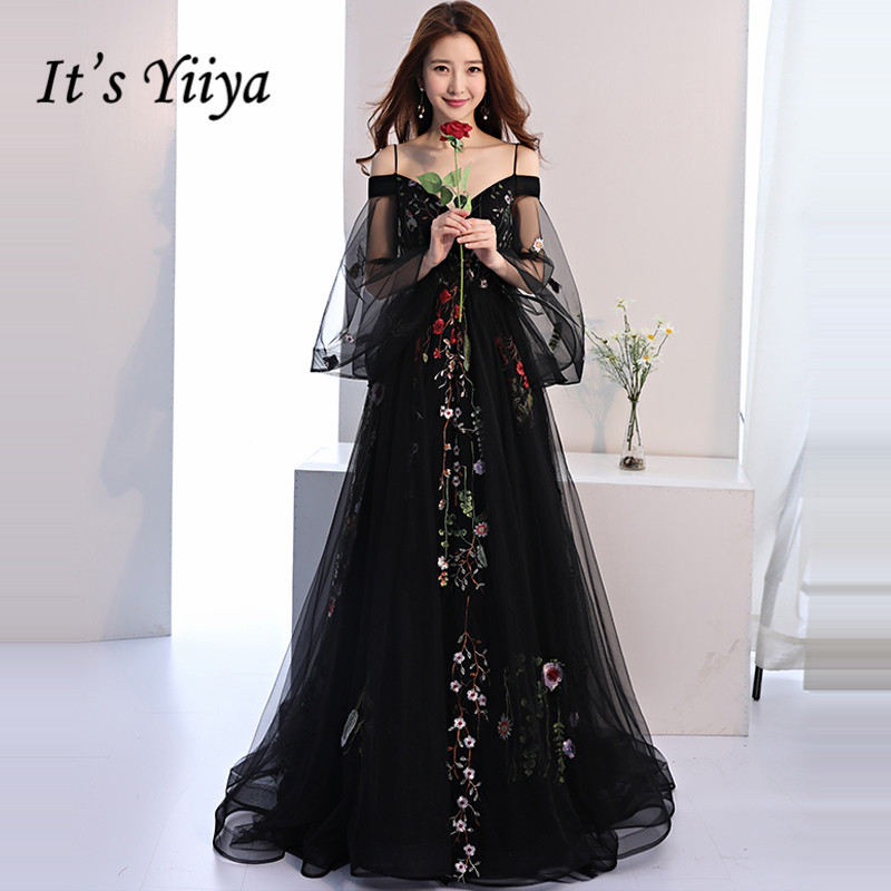 It's YiiYa Evening Dress 2019 Black Embroidery Floral Spaghetti Strap Train Elegant Trailing Dinner Gowns LX1381 Robe De Soiree
