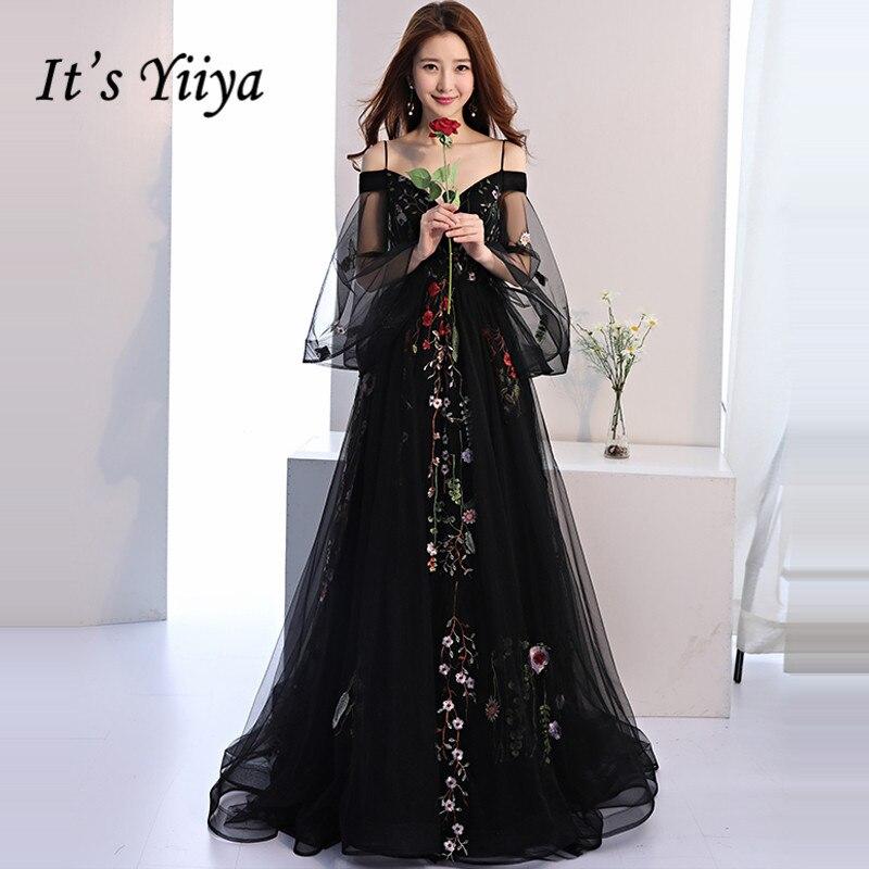 It's YiiYa   Evening     Dress   2019 Black Embroidery Floral Spaghetti Strap Train Elegant Trailing Dinner Gowns LX1381 robe de soiree