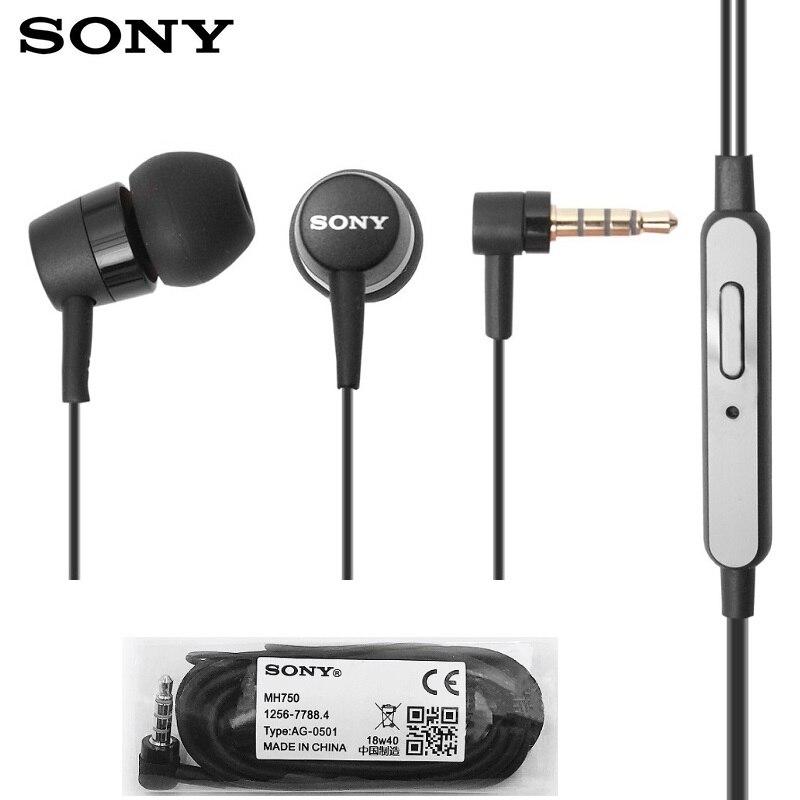 Original sony mh750 na orelha 3.5mm com fio fones de ouvido estéreo subwoofer com microfone para sony z 1 2 3 xiaomi huawei samsung telefone