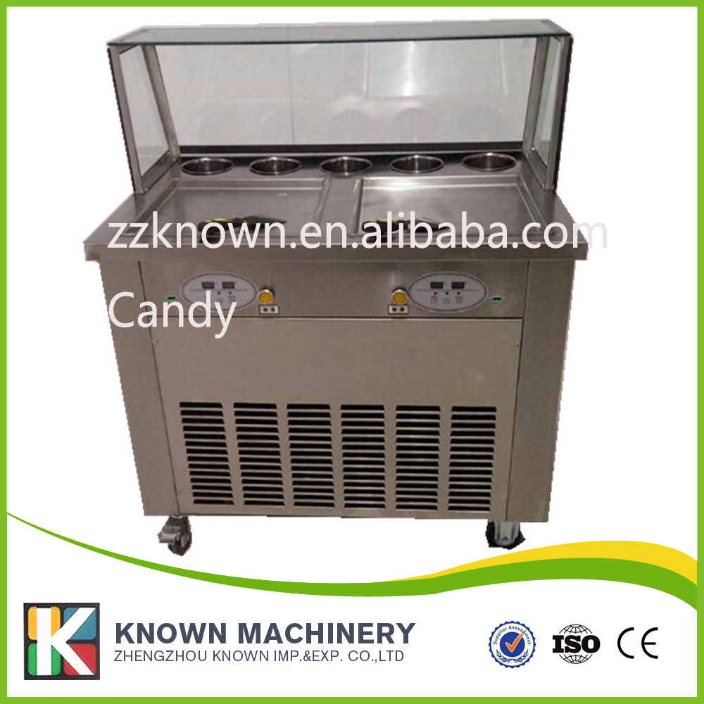 Free shipping By sea 220V fried ice cream machine double R410a refrigetant with glass display  family car with a refrigerator for ice creams bottle drinks free shipping by sea