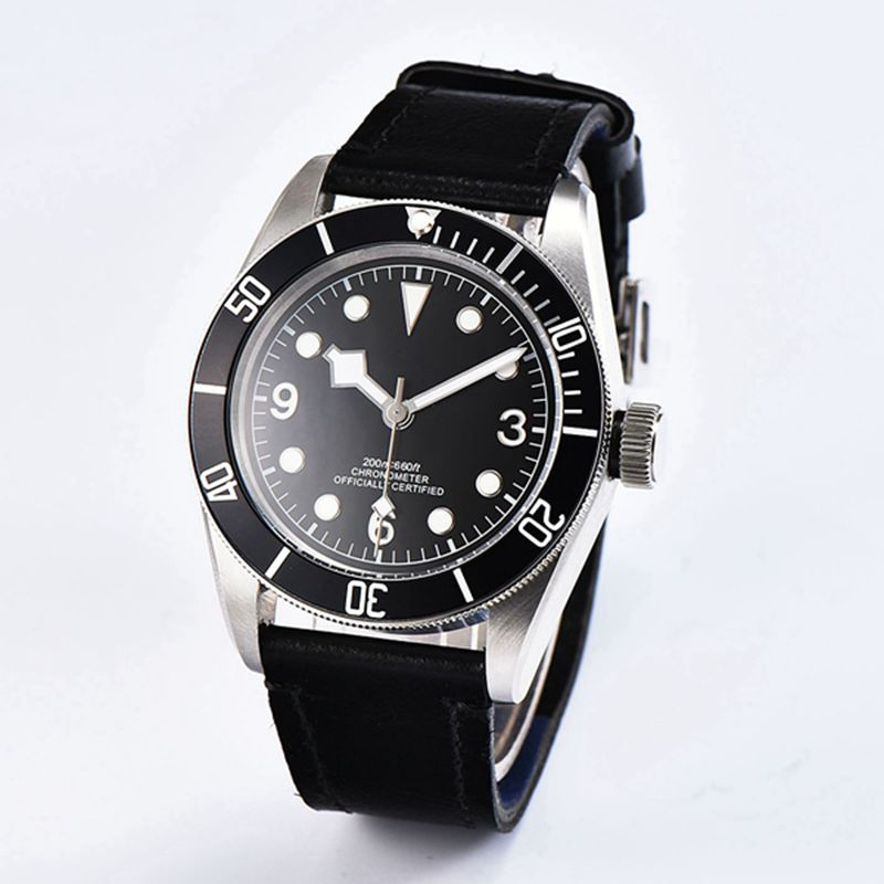 Corgeut 41mm Sapphire Glass sterile dial white case black bezel and leather Japan Miyota Automatic mens water resistant watches 41 mm corgeut sterial black dial red bezel sapphire glass luminous wrist watch japan miyota automatic mens water resistant watch