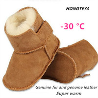 Hongteya Genuine Leather Soild Hook Loop Shallow Winter Super Warm Snow Boot Fur Baby Girls Boys