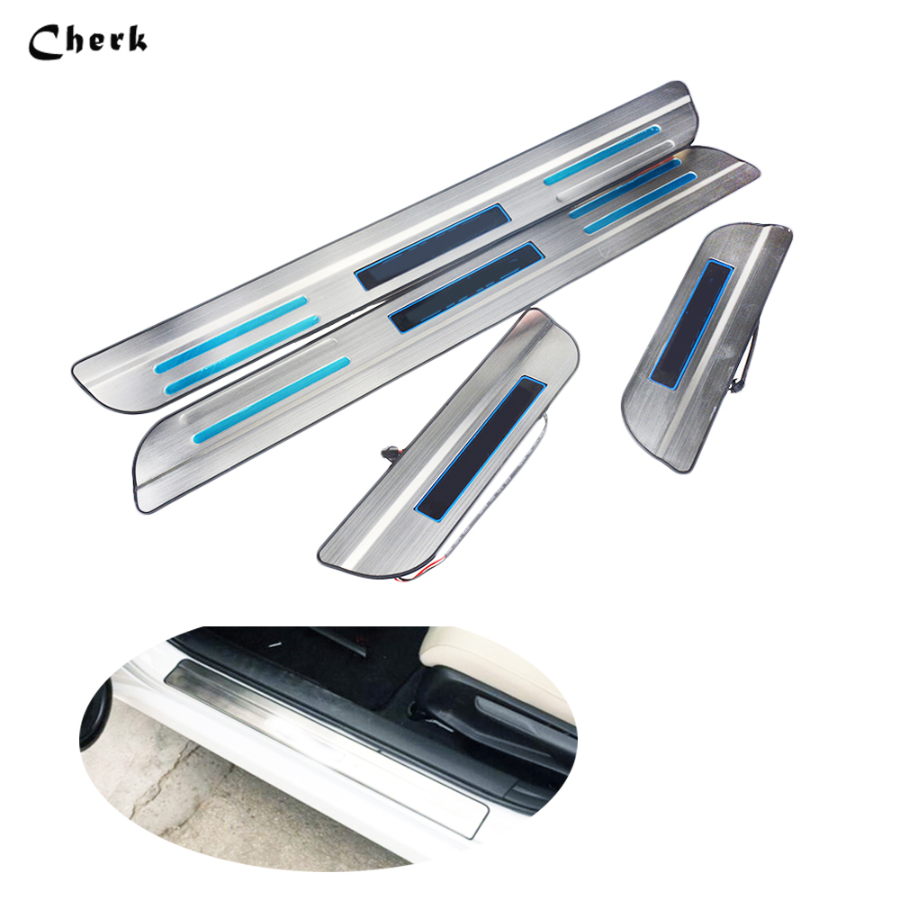 4pcs Car Accessories For Honda Civic 2003-2017 LED Scuff Plate Door Sill Covers Stainless steel Door Sills Protector with logo