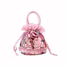 2017 Women's Handbag bag ladies Drawstring Bucket bags Shoulder Bag Flowers Silk Handbags Women Clutch Mini Coin Purse  ABE7 3