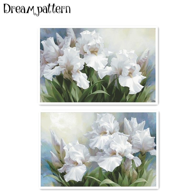 Iris Flowers Cross Stitch Kits Big Bloom Package 18ct 14ct 11ct Cloth Silk Cotton Thread Embroidery DIY Handmade Needlework