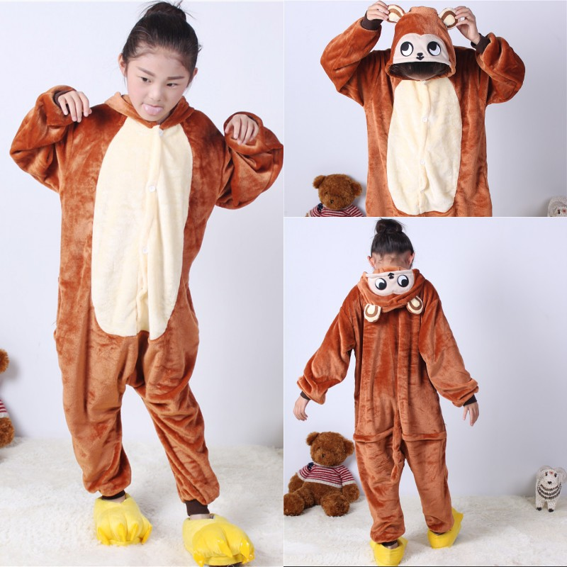 2-11Y Girls Boys Winter Children Flannel Animal Pajamas Kid Clothes Cute Pyjamas Cosplay Romper Sleepwear Infantil Pijamas