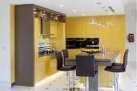 2017 hot sales 2PAC kitchen cabinets yellow colour modern high gloss lacquer kitchen furnitures pantry L1606070