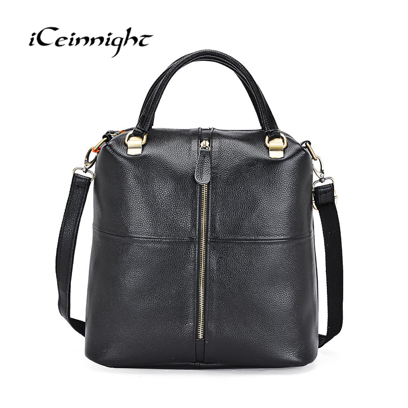 iCeinnight Genuine Leather Female Handbag Famous Luxury Brand Shoulder Bag Designer Crossbody Bags Women For girls 2018 iceinnight genuine leather bags new design handbag women famous brand messenger bags high quality travel shoulder bag for female