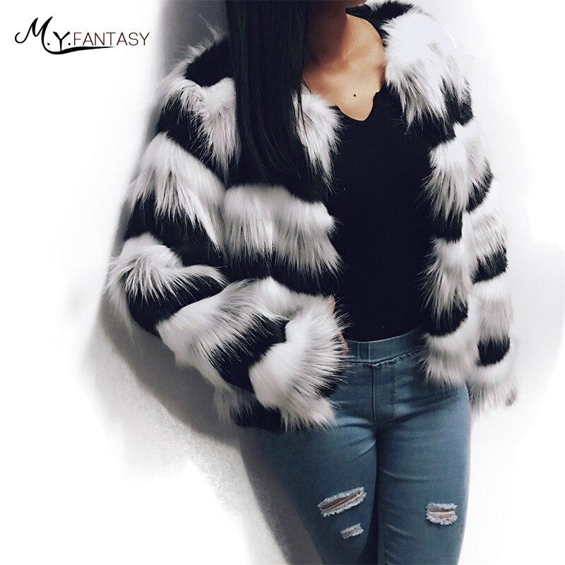 M Y Fansty 2019 High Imitation Fur Coat Woman O Neck