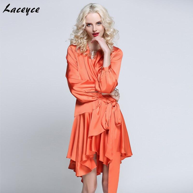 Laceyce 2018 New Fashion Summer Women Runway Dress Gray Pink Orange V Neck Asymmetrical Mini Dress Evening Party Dresses