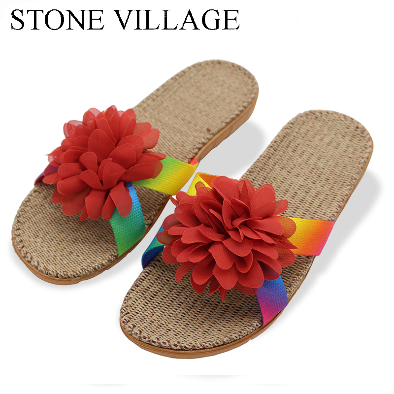 STONE VILLAGE New Lovers Women Slippers Flower  Flax Slippers Indoor Shoes Non-Slip Flip Flops High Quality Flower Cute Sandals krorche brand new unisex lovers flip flops indoor
