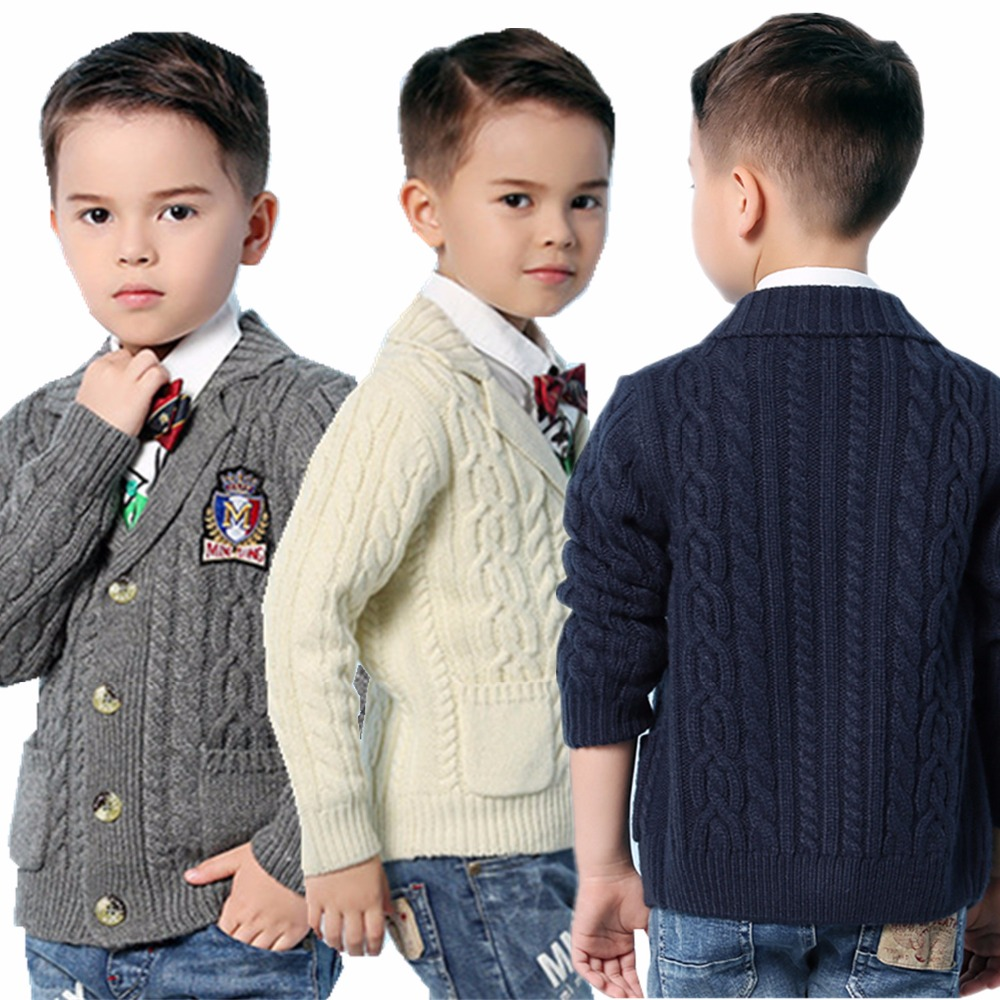 Spring Boys Cable Knit Sweater Cardigans Winter Thicken Kids Knitwear Coats Turn-Down Collar Children's Jackets Grey Black White недорго, оригинальная цена