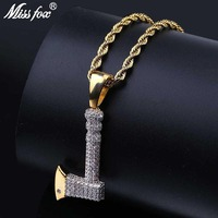 MISSFOX Hip Hop Hatchet Axe Best Friend Necklace Big AAA Cubic Zirconia 24K Plated Gold Jewelry Long Rope Chain Iced Out Pendant