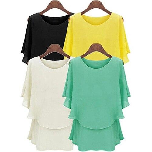 e8323a3b71e4ce New Women's Fashion Chiffon Shirt Summer Lotus Sleeve Double Layer Tops  Blousea