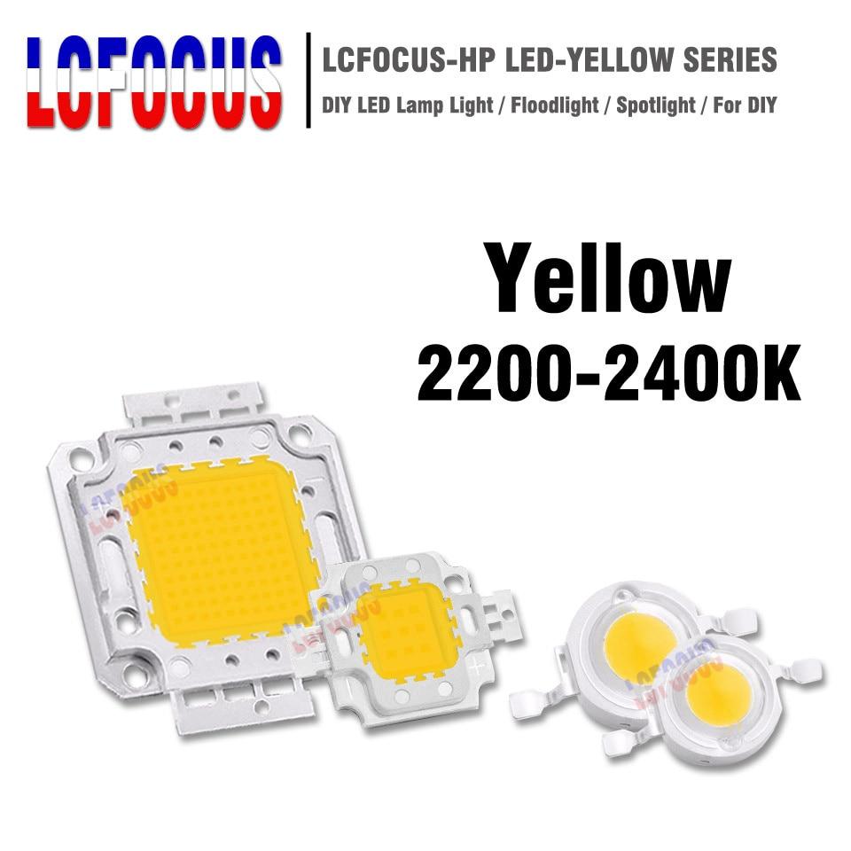 1W 3W 5W 10W 20W 30W 50W 100W Yellow 1 3 5 10 20 30 50 100 W Watt High Power LED COB Chip SMD DIY Super Bright Light Lamp Bulbs