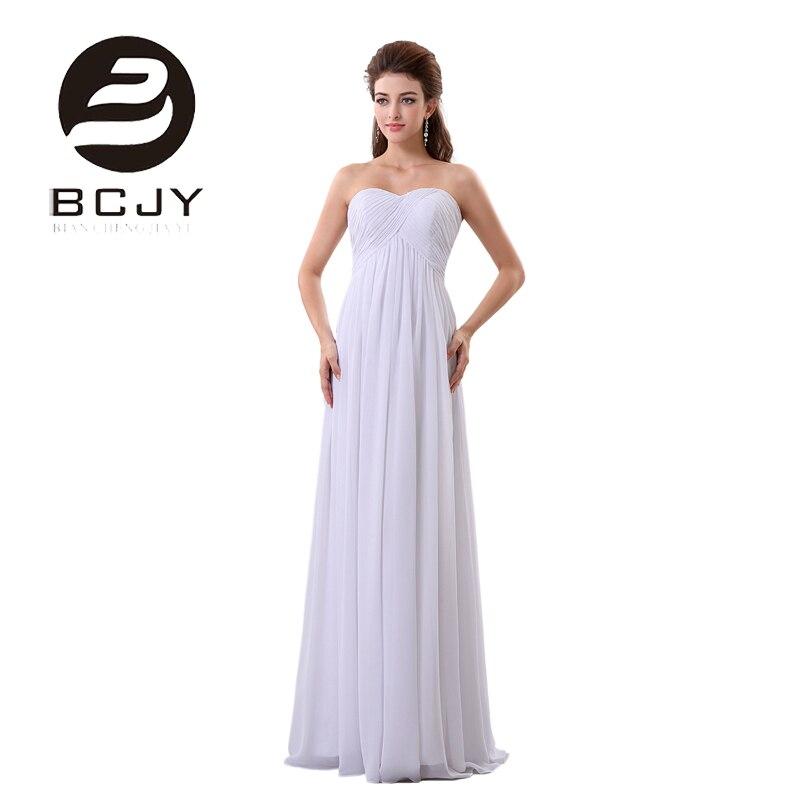 Robe De soirée une ligne Robe De soirée blanche longue 2019 chérie étage longueur en mousseline De soie avec pli robes De grande taille De fête De bal