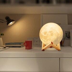 Image 3 - Dropshipping 3D הדפסת ירח מנורת LED לילה אור 20CM 18CM 15CM USB אור ירח 2 צבע משתנה מגע מתג עבור יצירתי מתנה