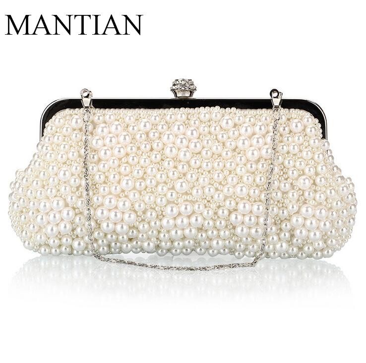 Completo de cuentas de las mujeres bolsos de noche de moda de concha de perla en