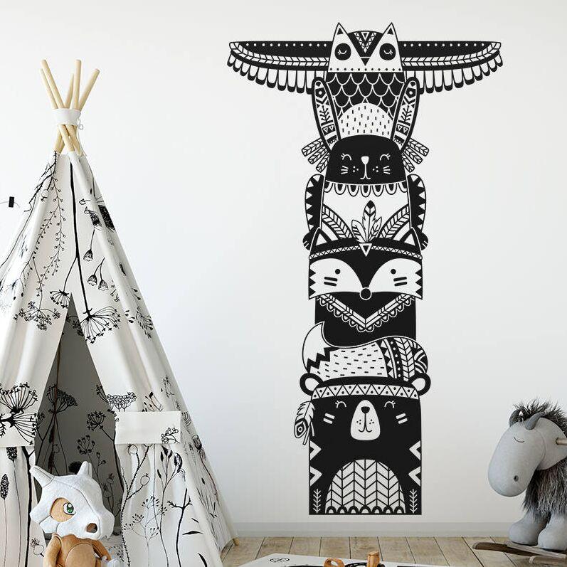 Woodland Animal Wall Decal Vinyl Tribal Sticker Nursery Kids Room Decor Friends Art Mural AY1221