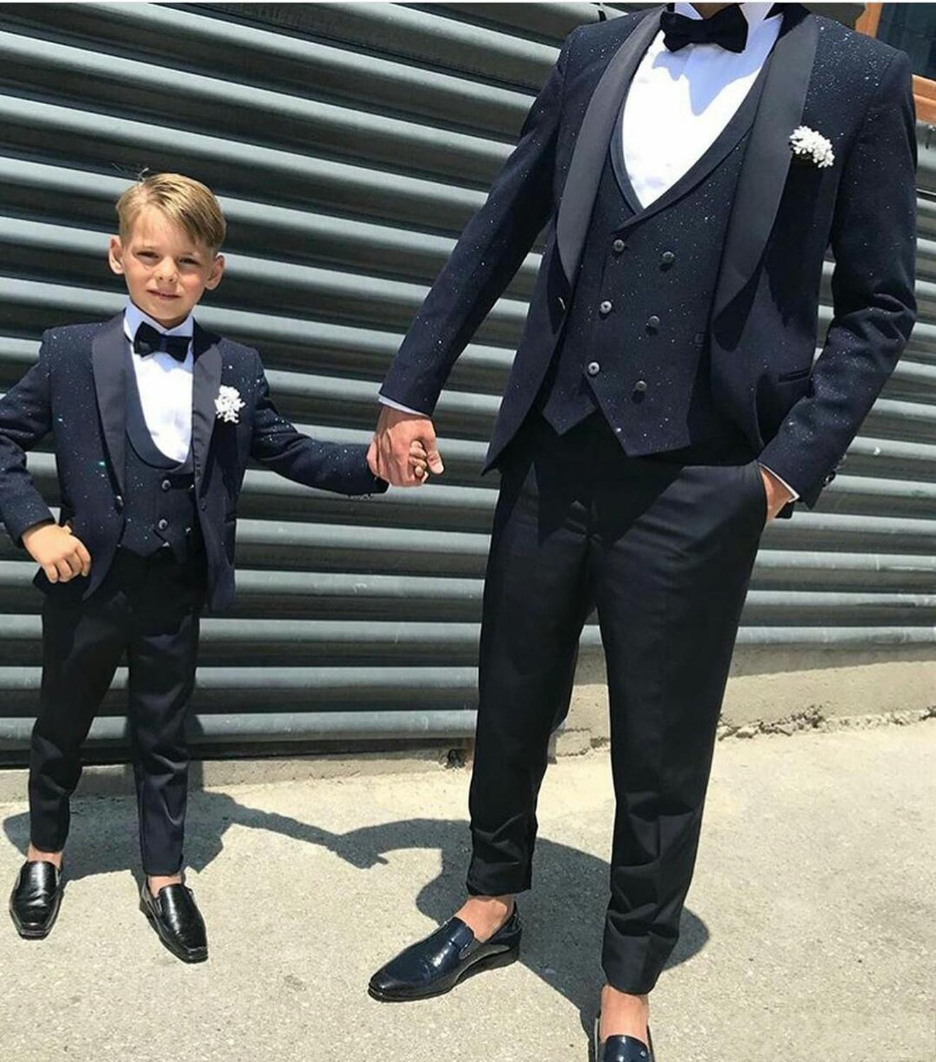 Latest Men Suits Check Design Suits 3 Pieces One Button Groom Kids Wedding Tuxedos Custom Made Business Men Wear(China)