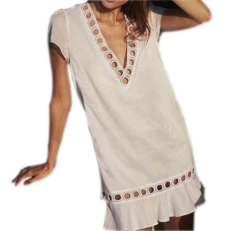 d85a8b75829cc Greek Style Cotton Tunics for Beach Women Swimsuit Cover up Swimwear Cover  up Beachwear Pareo Beach