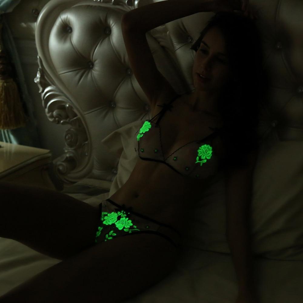 Fluorescence Women Lace Mini Sexy Bra Set Lady Noctilucence Underwear Open Crotch Panty Erotic Lingerie Woman Sexy Set Erotic