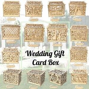 14 أنواع DIY الزفاف صندوق بطاقات هدايا خشبية حصالة مع قفل و مفتاح جميلة الزفاف لوازم الديكور لحفلة عيد ميلاد