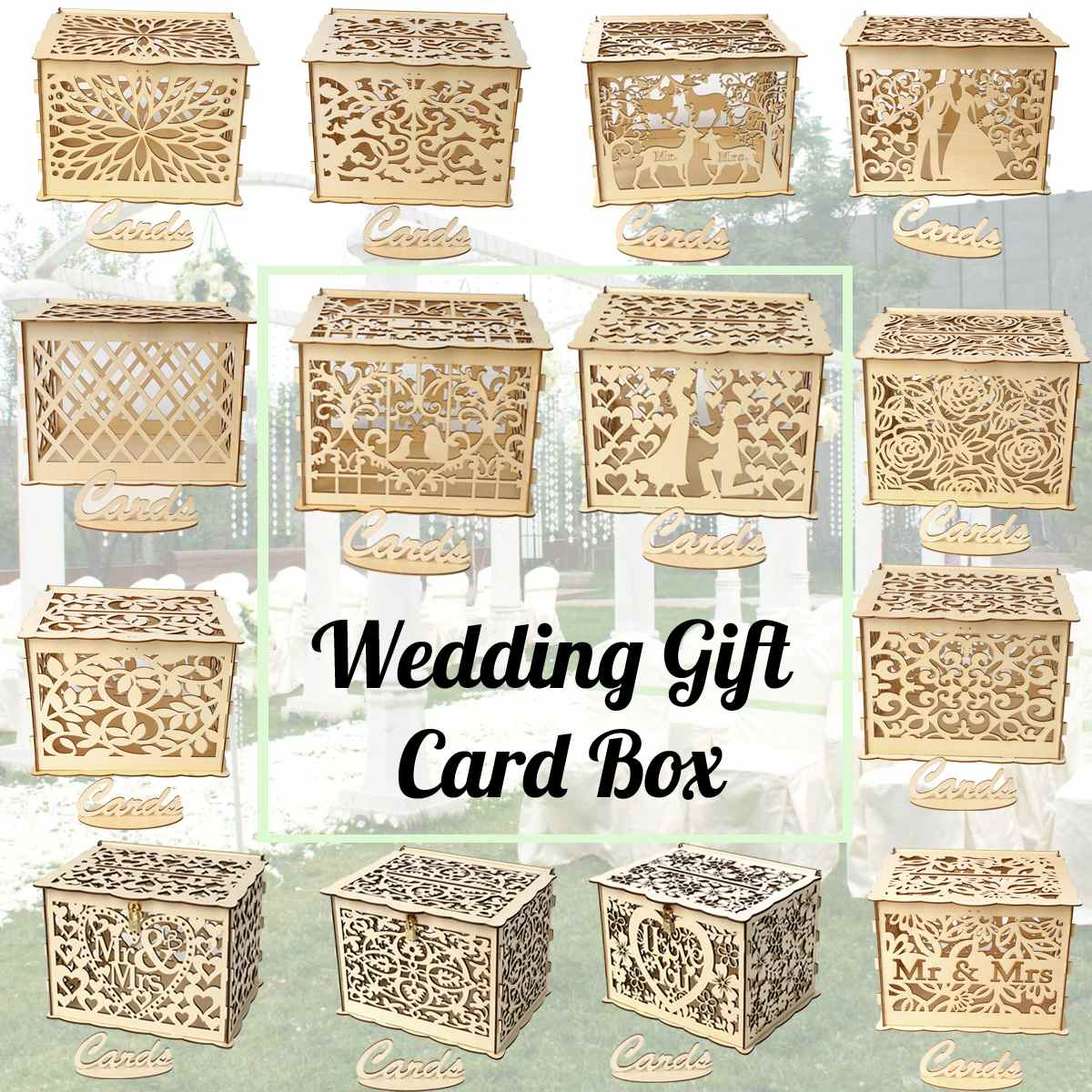 14 Types DIY Wedding Gift Card Box Wooden Money Box With Lock And Key Beautiful Wedding Decoration Supplies For Birthday Party