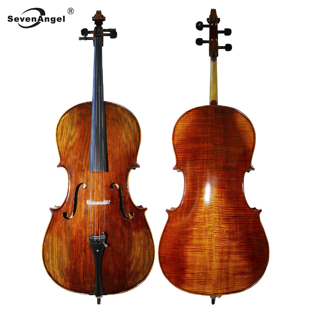 SevenAngel Pure Handmade Matt Cello Natural Flamed Grade AAA Maple Backplate & Old Spruce Panel Cello For Performance Collection