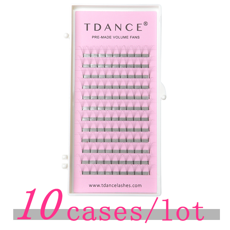 False Eyelashes Beauty & Health Tdance 10 Pcs/lot Eyelash Extension Short Stem 0.07 0.10mm Thickness High Quality Pre-fanned Volume Lashes Eyelash Extension