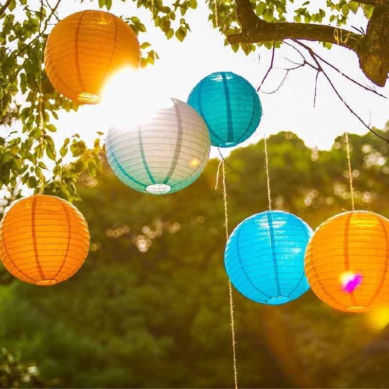 6-8-10-12-14-16 นิ้วราคาถูกกระดาษโคมไฟสีเหลืองแขวนโคมไฟจีน Wishing กระดาษโคมไฟตกแต่ง Party