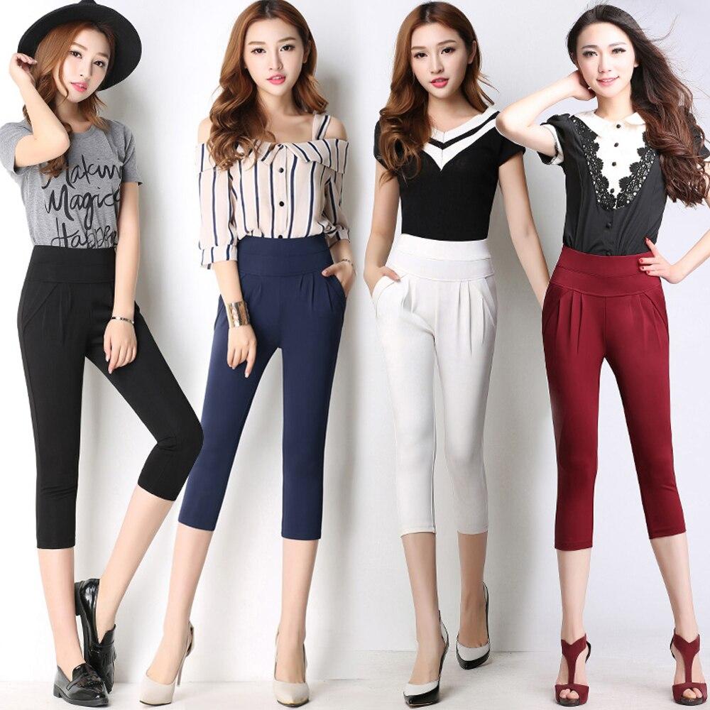 women summer cropped   pants   trousers new pleated casual   pants   high stretch wild waist harem   pants   plus size S-5XL 6XL   capris