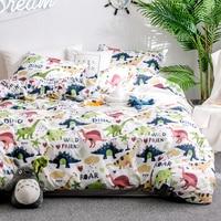 Home Textile Cartoon Dinosaur Bedding Sets Children's Beddingset Bed Linen Duvet Cover Pillowcase/bed Sets #s