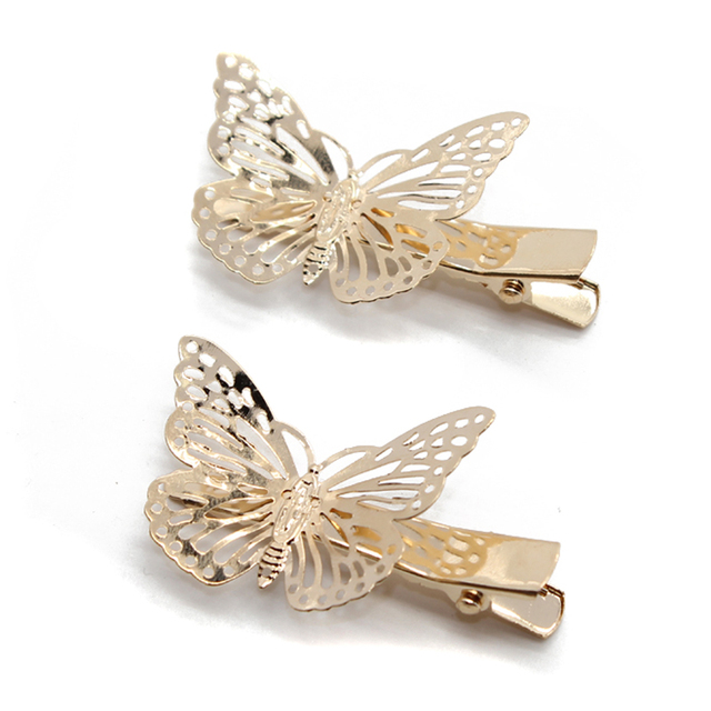 4 Pieces Gold Plated Butterfly Hair Clip