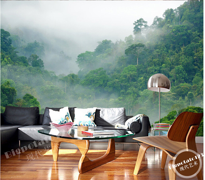 Custom 3D murals,tropical rain forest forest landscape photography , living room sofa TV bedroom background wallpaper custom green forest trees natural landscape mural for living room bedroom tv backdrop of modern 3d vinyl wallpaper murals