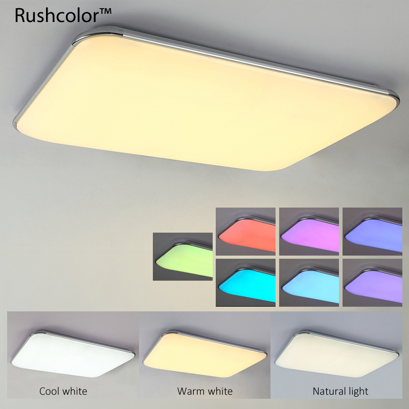 Ceiling Lights Friendly Wongshi Modern 2.4g Ir Remote Control Black White Iron Led Ceiling Lamp Surface Mounted Panel Simple Ceiling Light Always Buy Good