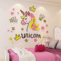 Crown and Unicorn Acrylic Stickers DIY Wall Stickers for Girl's Room Princess Wall Decoration Customized Birthday Gift